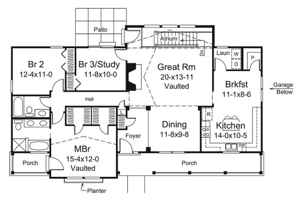 Country Floor Plan - Main Floor Plan #57-692
