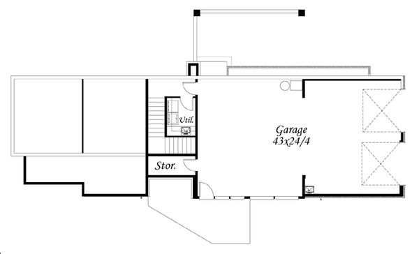 Modern Style House Plan - 3 Beds 2.5 Baths 1850 Sq/Ft Plan #509-17 Floor Plan - Lower Floor Plan