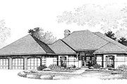 European Style House Plan - 3 Beds 3 Baths 2581 Sq/Ft Plan #320-388 Exterior - Front Elevation