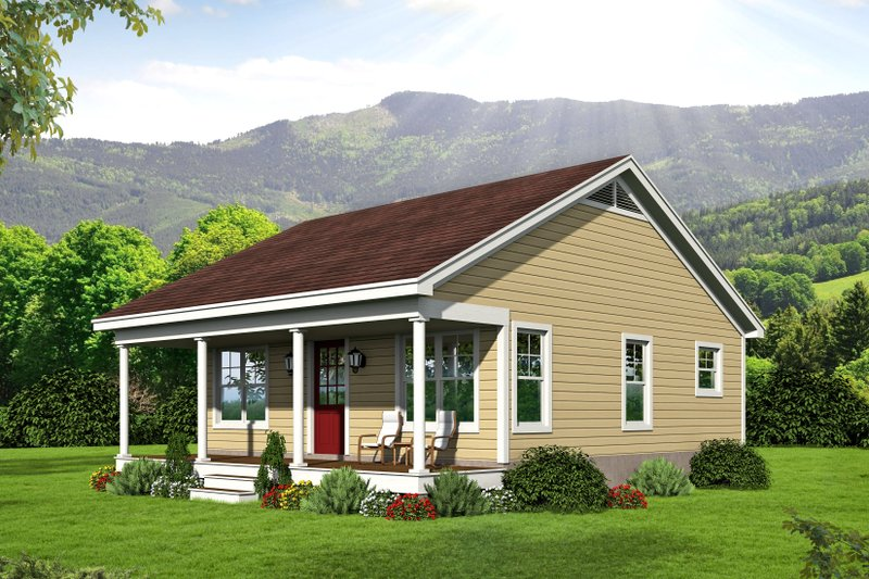 Country Style House Plan - 1 Beds 1 Baths 676 Sq/Ft Plan #932-191