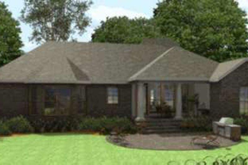Southern Exterior - Rear Elevation Plan #406-300 - Houseplans.com