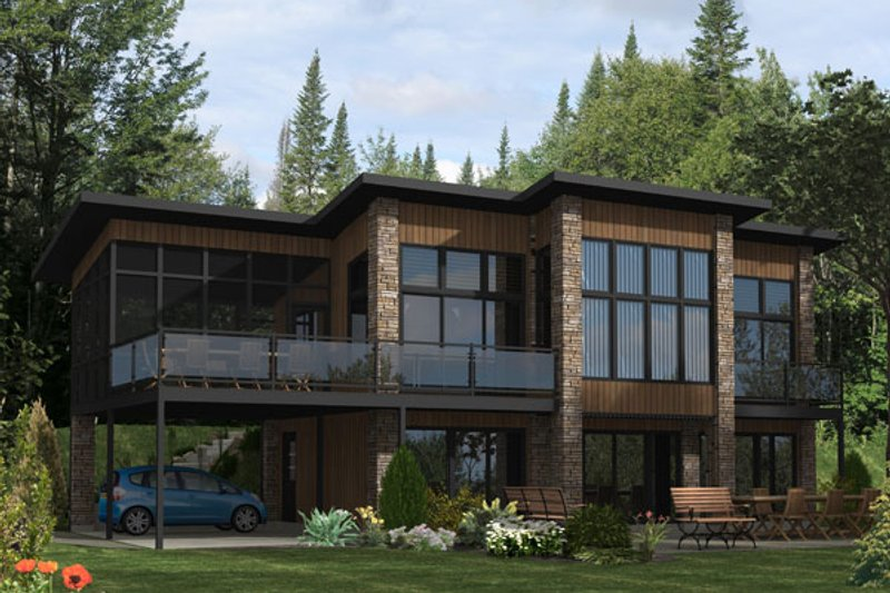 Modern Style House Plan - 3 Beds 2 Baths 1576 Sq/Ft Plan #138-355 Exterior - Front Elevation