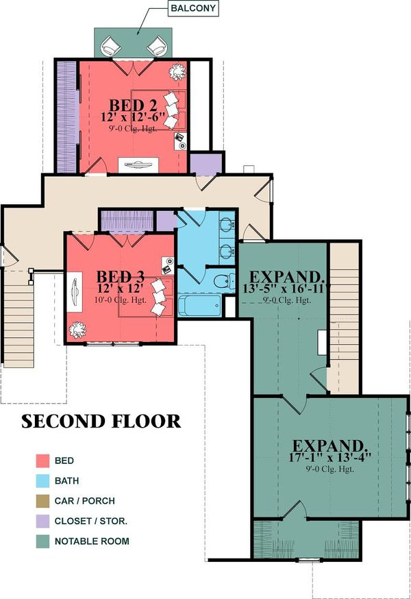 Craftsman Style House Plan - 6 Beds 3 Baths 2713 Sq/Ft Plan #63-418 Floor Plan - Upper Floor Plan