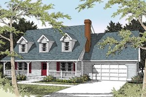 Colonial Exterior - Front Elevation Plan #100-225
