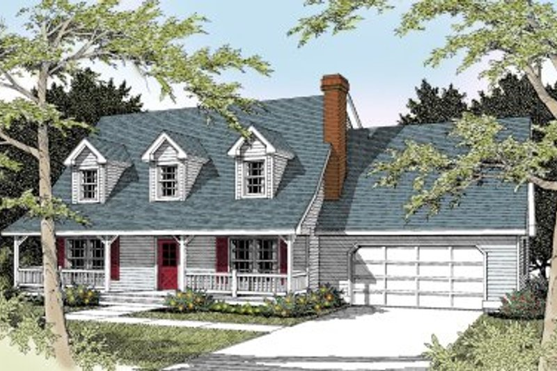Colonial Style House Plan - 3 Beds 2.5 Baths 1986 Sq/Ft Plan #100-225 Exterior - Front Elevation