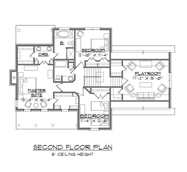 Traditional Floor Plan - Upper Floor Plan Plan #1054-55