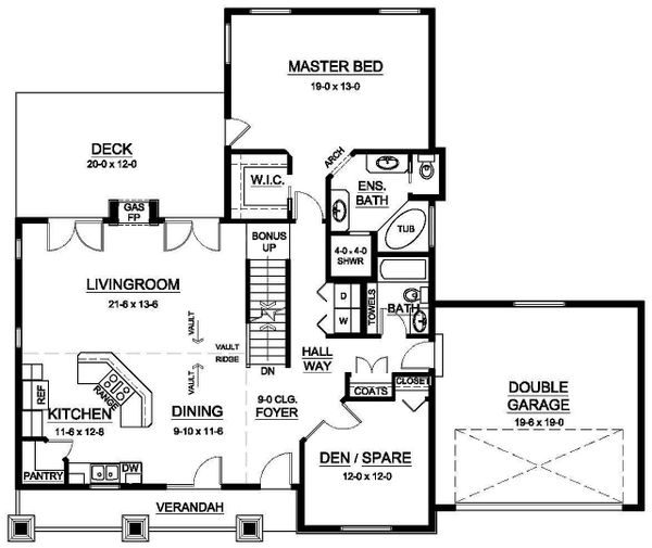 House Design - Ranch Floor Plan - Main Floor Plan #126-195
