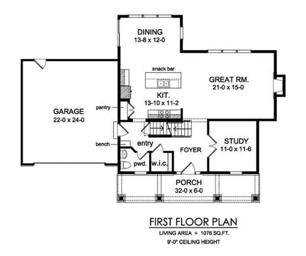 Traditional Floor Plan - Main Floor Plan Plan #1010-229
