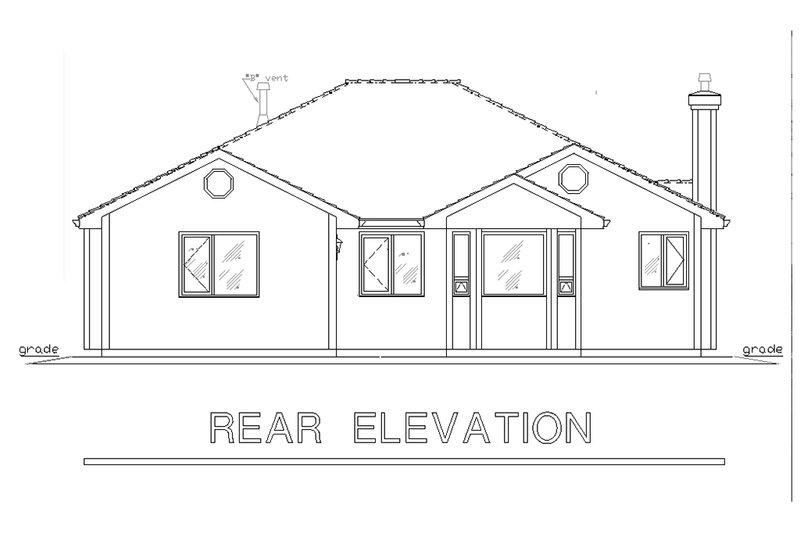 Traditional Exterior - Rear Elevation Plan #18-1014 - Houseplans.com