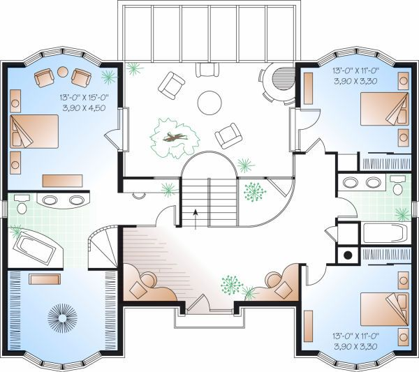European Floor Plan - Upper Floor Plan Plan #23-833