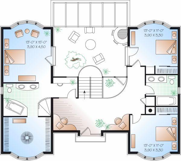 European Floor Plan - Upper Floor Plan #23-833