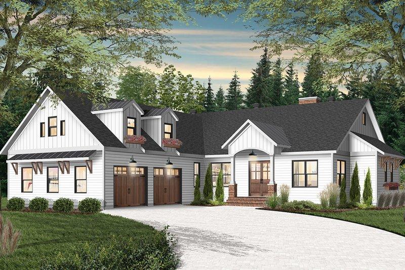 House Blueprint - Farmhouse Exterior - Front Elevation Plan #23-2689
