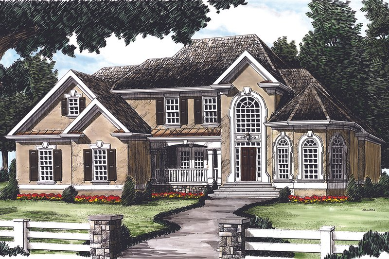 Traditional Exterior - Front Elevation Plan #927-29 - Houseplans.com