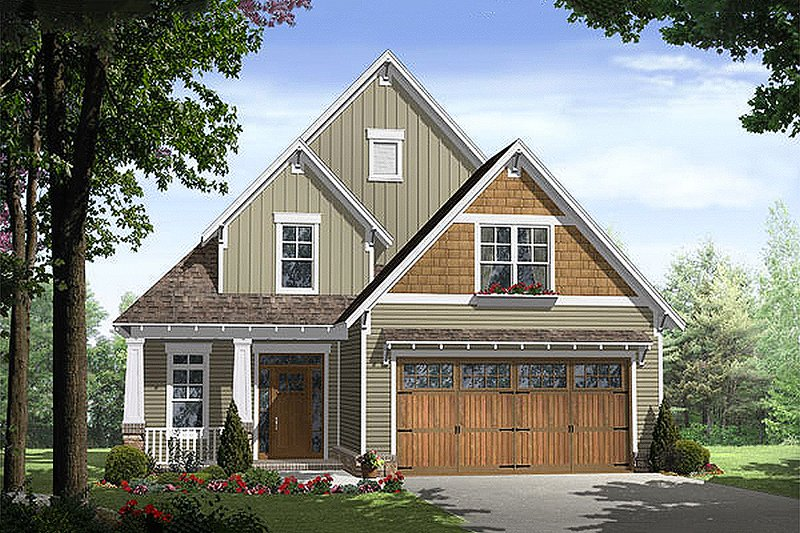 Craftsman Style House Plan - 3 Beds 2.5 Baths 1802 Sq/Ft Plan #21-254 Exterior - Front Elevation