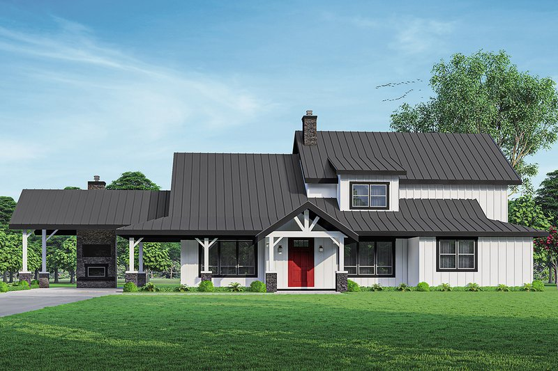 Architectural House Design - Farmhouse Exterior - Front Elevation Plan #124-1253