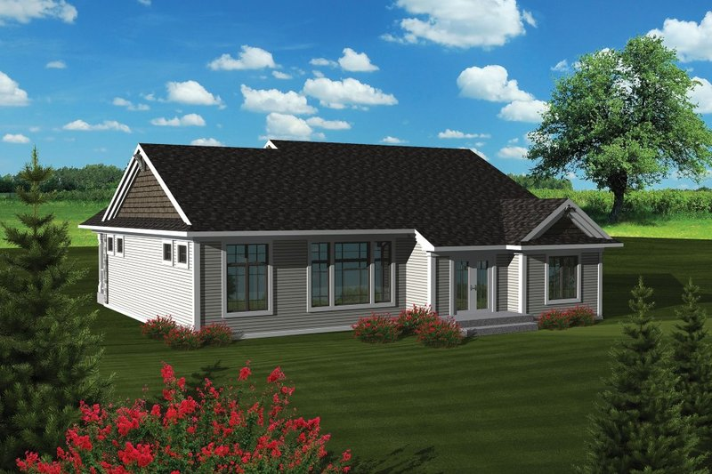 Traditional Exterior - Rear Elevation Plan #70-1081 - Houseplans.com