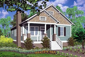 Cottage Exterior - Front Elevation Plan #30-104