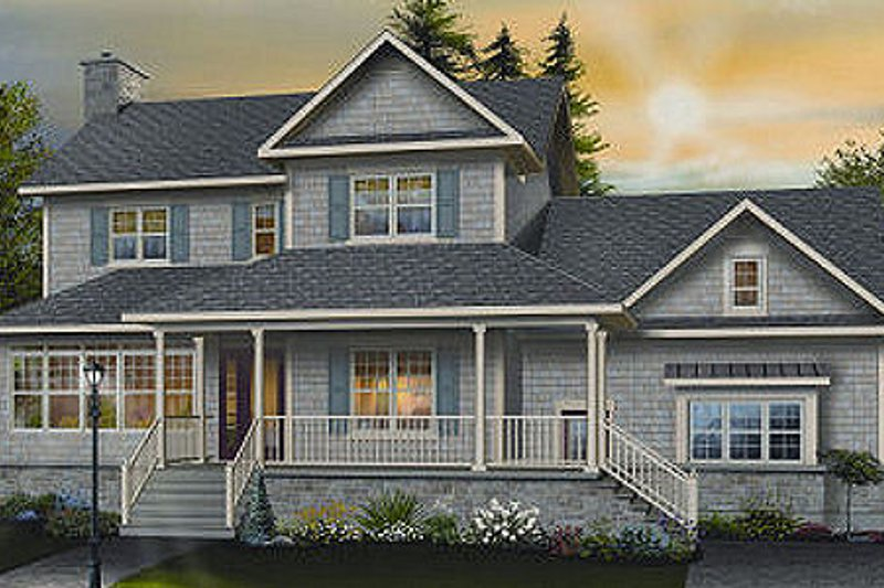 Country Style House Plan - 3 Beds 2.5 Baths 2183 Sq/Ft Plan #23-745 Exterior - Front Elevation