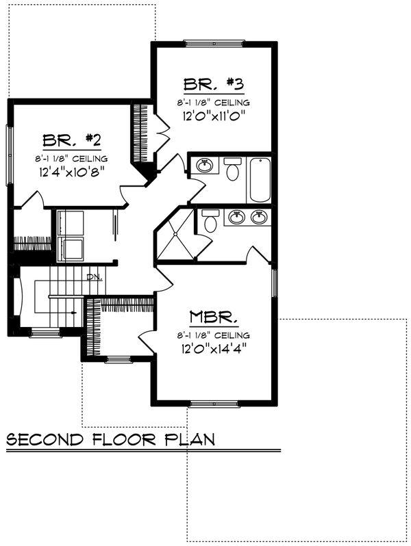 Craftsman Floor Plan - Upper Floor Plan Plan #70-1415