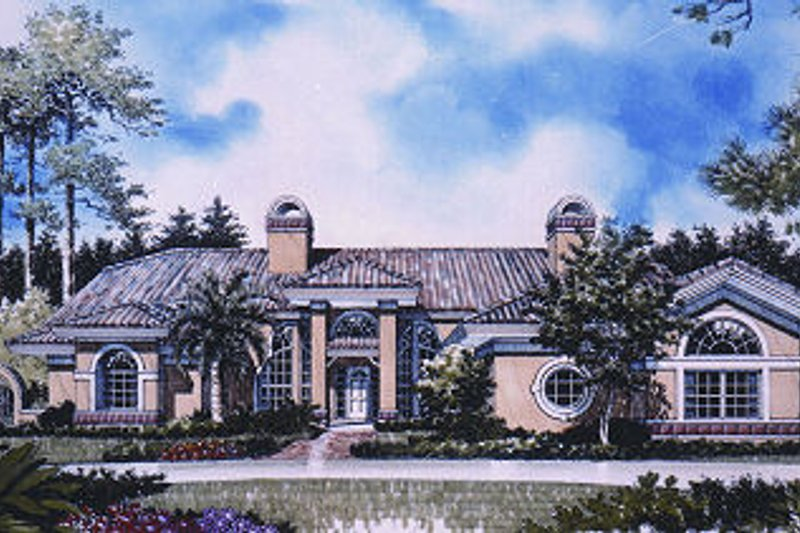 European Style House Plan - 4 Beds 3 Baths 2987 Sq/Ft Plan #417-352 Exterior - Front Elevation