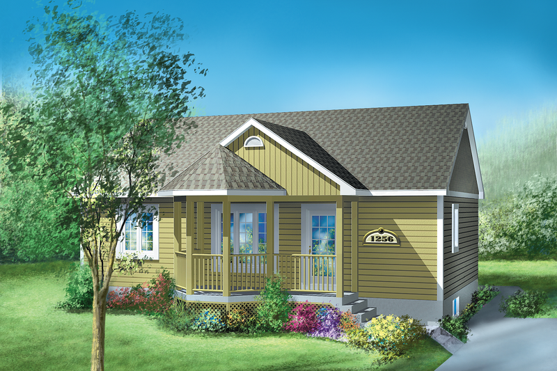 Cottage Style House Plan - 2 Beds 1 Baths 900 Sq/Ft Plan #25-1183 Exterior - Front Elevation