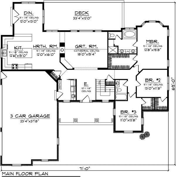 House Plan Design - Ranch Floor Plan - Main Floor Plan #70-1101