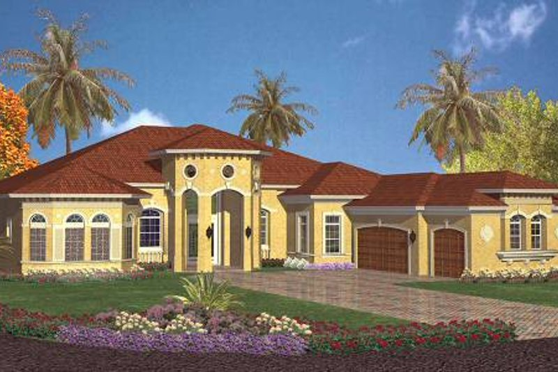 Mediterranean Style House Plan - 5 Beds 4.5 Baths 4355 Sq/Ft Plan #420-121 Exterior - Front Elevation