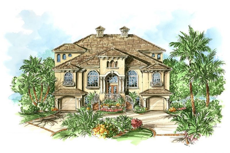 European Style House Plan - 3 Beds 2.5 Baths 3666 Sq/Ft Plan #27-208 Exterior - Front Elevation