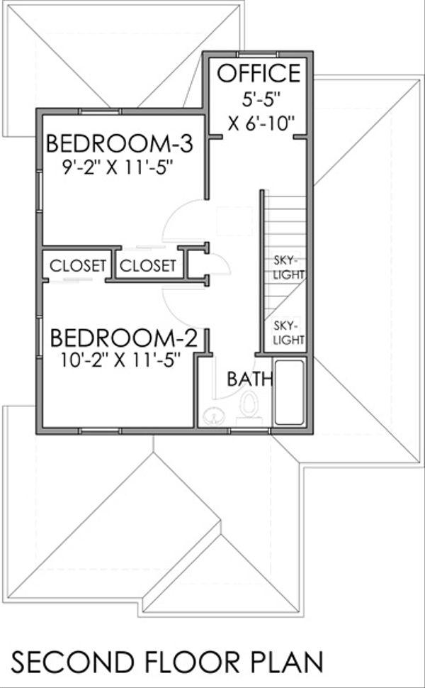 Craftsman Floor Plan - Upper Floor Plan Plan #518-7