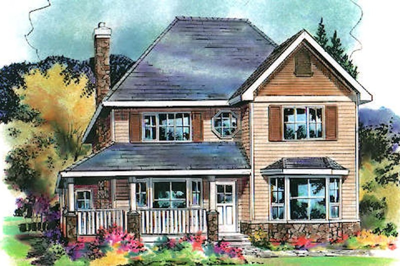 Traditional Style House Plan - 4 Beds 3 Baths 1917 Sq/Ft Plan #18-4508 Exterior - Front Elevation