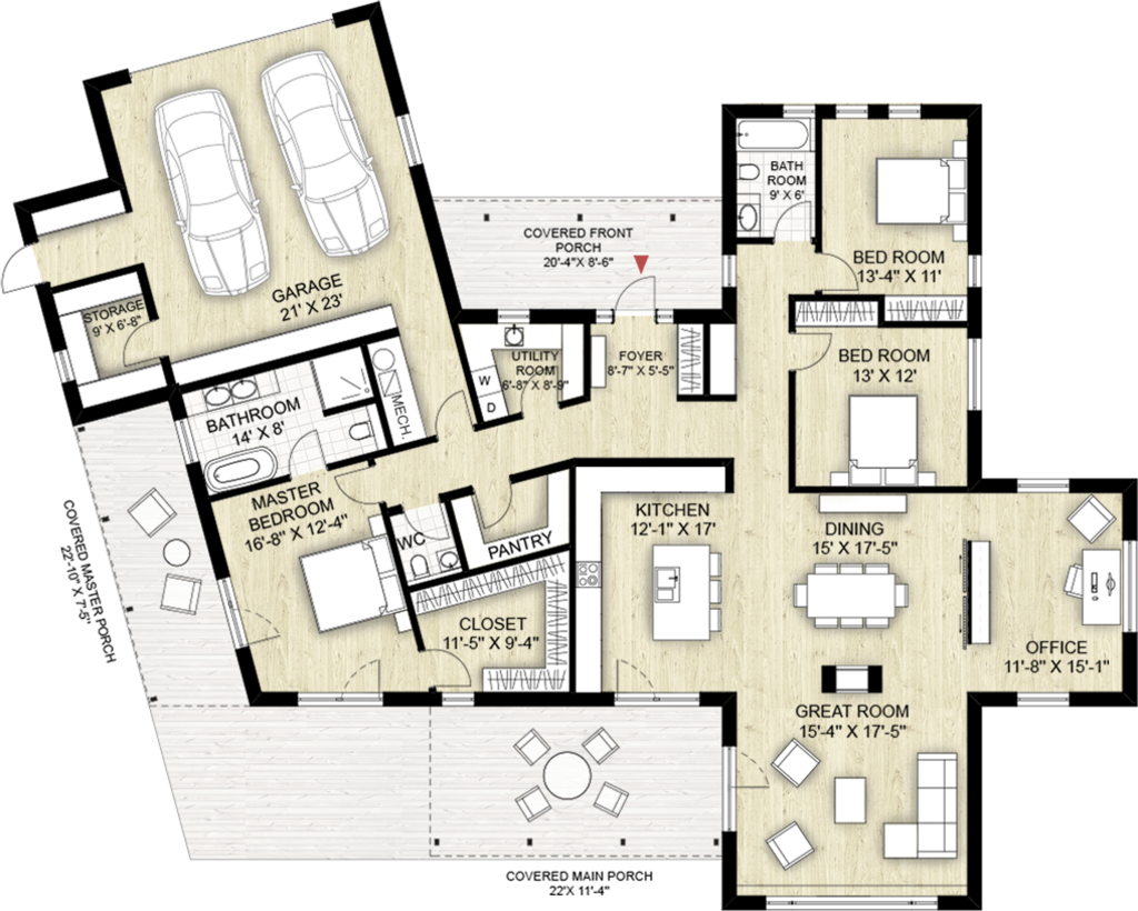 Modern style house plan 3 beds 2 5 baths 2116 sq ft plan