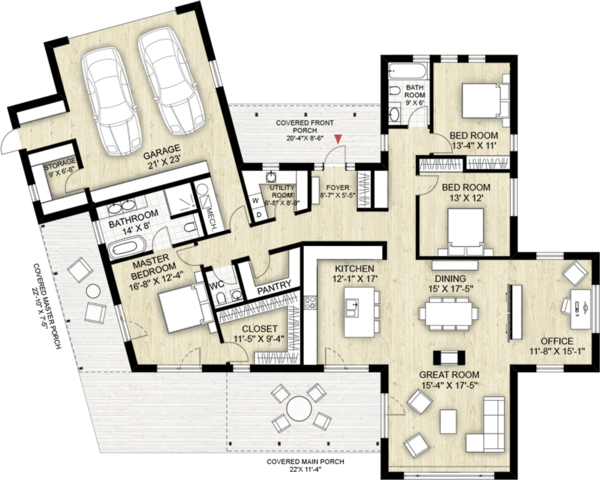 Modern Floor Plan - Main Floor Plan Plan #924-4