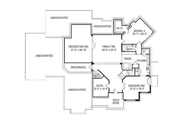 Contemporary Floor Plan - Lower Floor Plan Plan #920-90