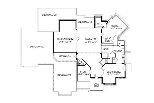 Contemporary Floor Plan - Lower Floor Plan #920-90