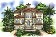 Mediterranean Style House Plan - 4 Beds 5.5 Baths 4926 Sq/Ft Plan #27-433 Exterior - Front Elevation