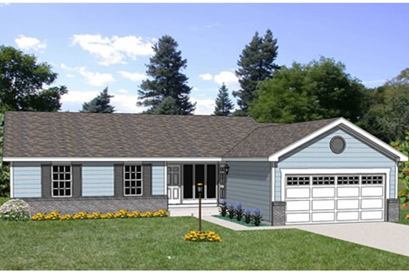 Ranch Style House Plan - 3 Beds 2 Baths 1250 Sq/Ft Plan #116-232 Exterior - Front Elevation