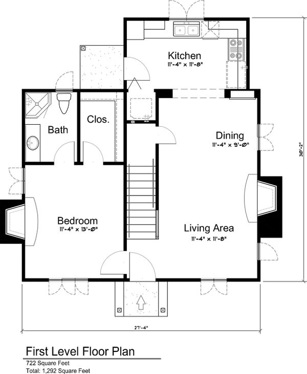 Main Level floor plan - 1300 square foot cottage home