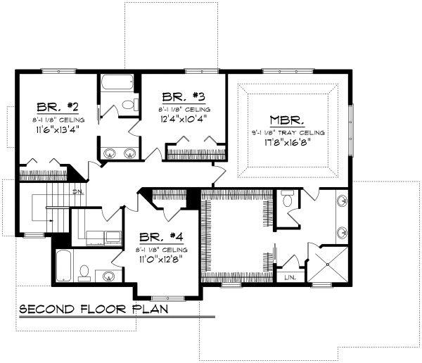 Architectural House Design - Prairie Floor Plan - Upper Floor Plan #70-1178