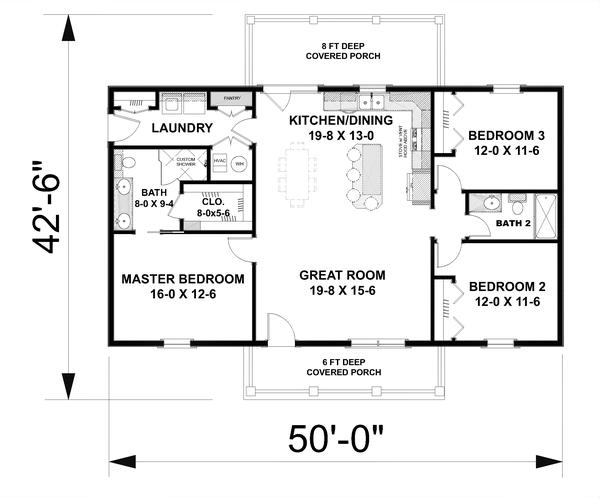 Home Plan - Cottage Floor Plan - Main Floor Plan #44-246