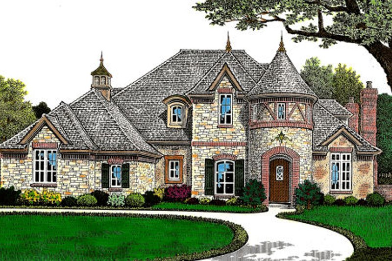 European Style House Plan - 4 Beds 3.5 Baths 3437 Sq/Ft Plan #310-644 Exterior - Front Elevation
