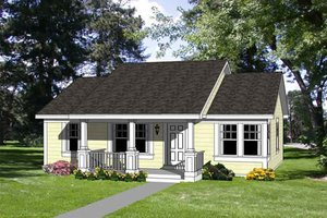 Cottage Exterior - Front Elevation Plan #116-164