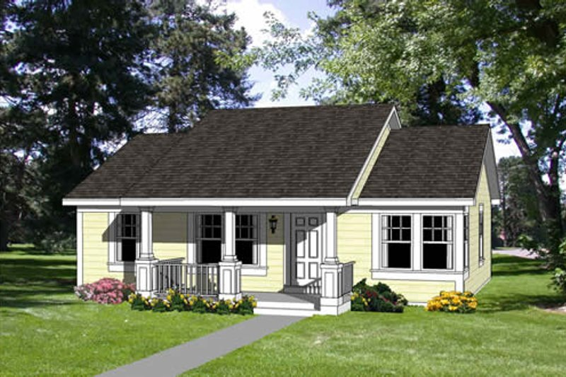 Cottage Style House Plan - 3 Beds 2 Baths 1067 Sq/Ft Plan #116-164 Exterior - Front Elevation