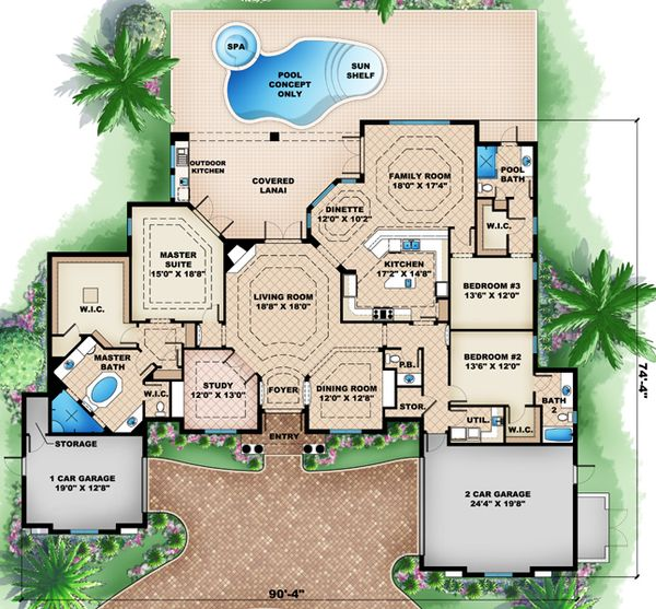 Mediterranean Floor Plan - Main Floor Plan Plan #27-418
