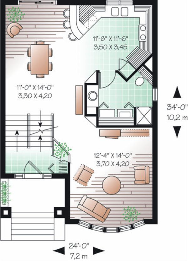European Floor Plan - Main Floor Plan Plan #23-747