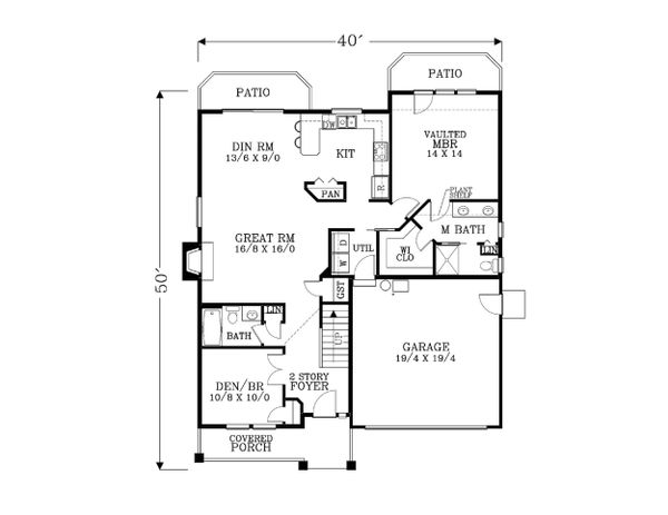 Craftsman Floor Plan - Main Floor Plan Plan #53-472