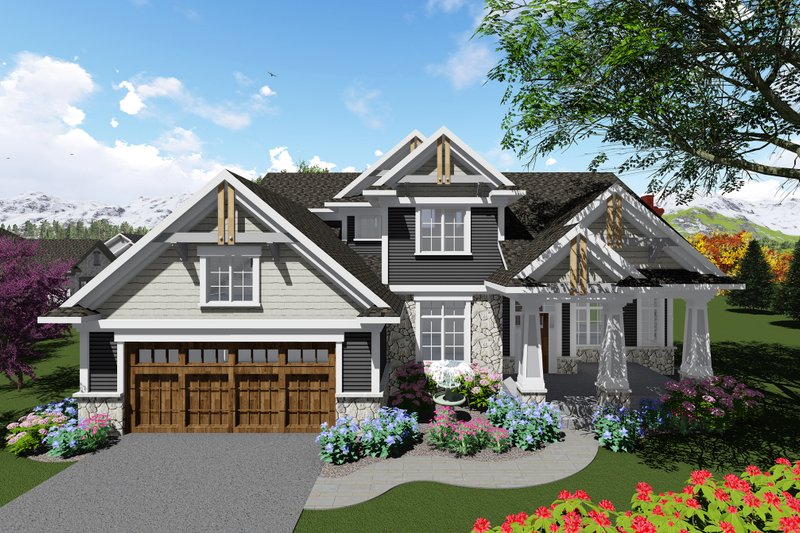 Craftsman Exterior - Front Elevation Plan #70-1280