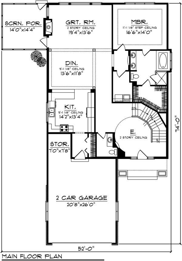 Traditional Floor Plan - Main Floor Plan Plan #70-1035