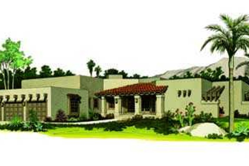 Adobe / Southwestern Exterior - Front Elevation Plan #72-167