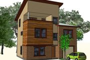 Contemporary Style House Plan - 3 Beds 3 Baths 1465 Sq/Ft Plan #512-4 Exterior - Front Elevation