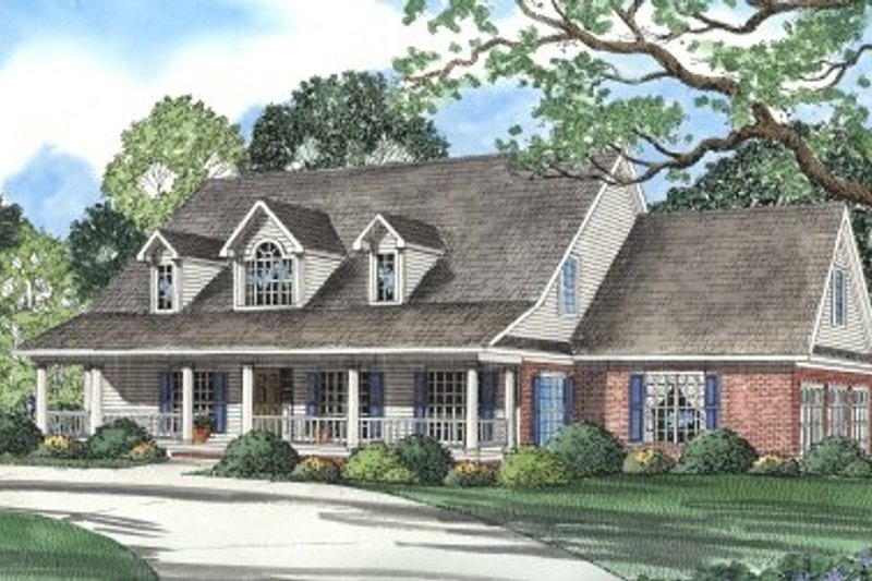 Architectural House Design - Country Exterior - Front Elevation Plan #17-295